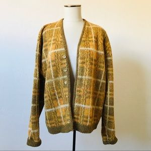 Vintage 1970s Mustard and Olive Mohair Cardigan